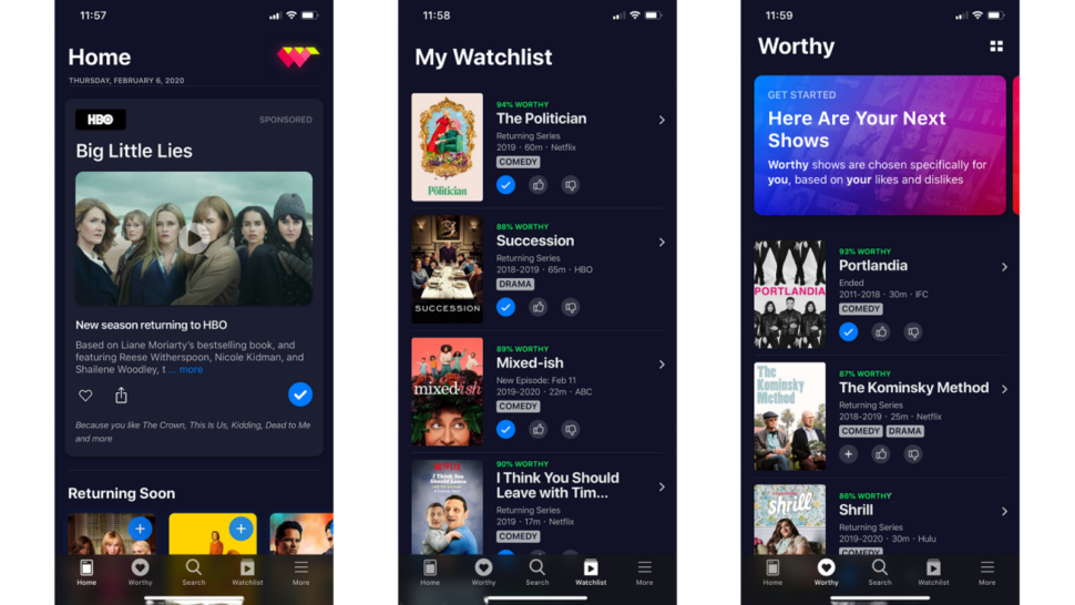 WatchWorthy app screenshots