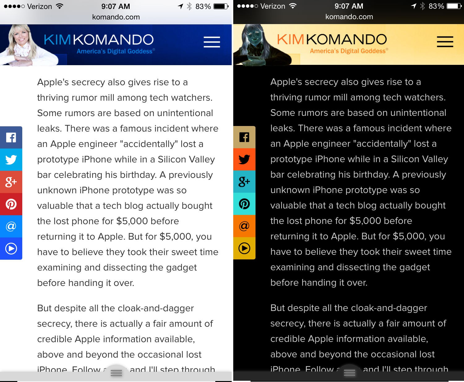 Komando.com on iPhone with inveted screen colors