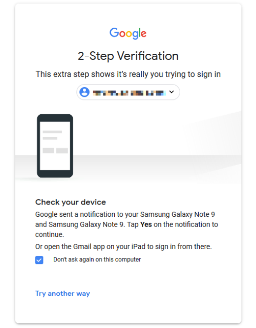 Google two-factor authentication screen