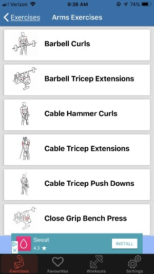 gym exercises app example of library of exercises