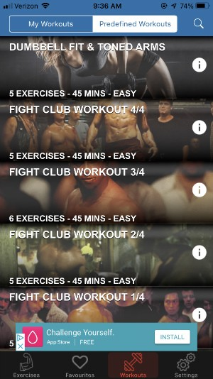 gym exercises app offers preset workouts